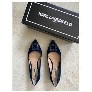 Karl Lagerfeld Nara Navy Suede Bead Buckle Flat